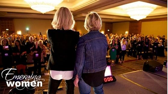 Brene Brown and Elizabeth Gilbert together onstage at Emerging Women 2015
