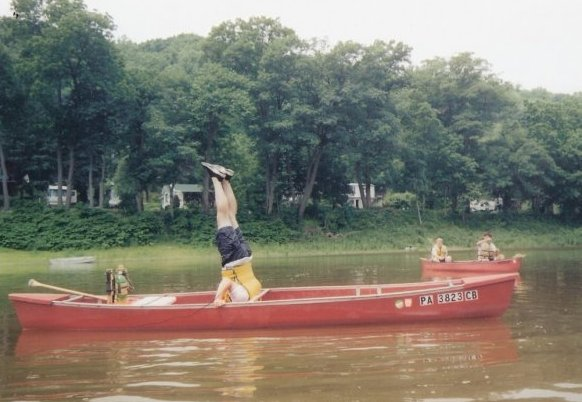 Mr Elias Demonstrating the proper Way to Perfom a Canoe Headstand.