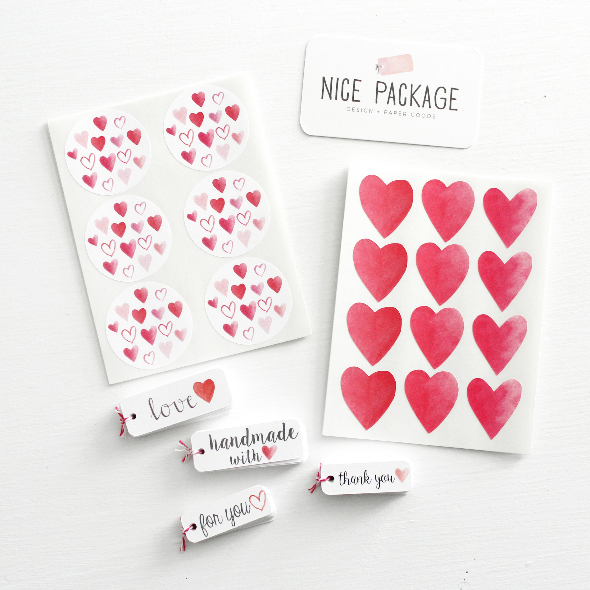 Valentine's Day stickers and gift tags