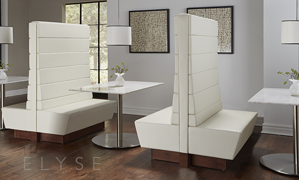 Elyse Booth       Elegant. Sophisticated.Beautiful...but Elyse is so much more.     This modular booth system can be arranged in a variety of seating configurations and upholstered in the   fabric of your choice. The innovative design allows for more compact shipping...which saves money!