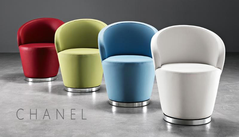 Chanel Swivel Lounge Chair     Dignified. Chic. A Statement In Style.    The elegant and ergonomic Chanel lounge chair has a curved back for support and a metal  swivel chrome base. Practical and comfortable, Chanel is perfect for any corporate or hospitality application such as bars, lounges and waiting areas.