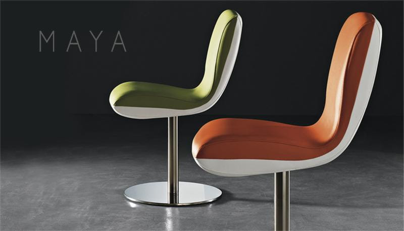 Maya Collection     Daring. Bold.A Glimpse Of The Future.   Maya is available with a swivel base, 4 leg chrome base, or bolted down version.Matching  barstools are available with chrome swivel or bolted down bases.   Ideal for bars and restaurants.