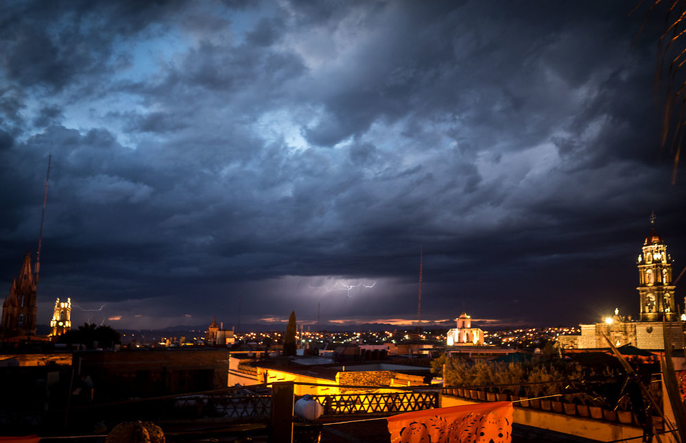 Lighting strikes above San Miguel de Allende.