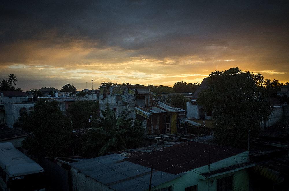 Sunset over a Santa Elena, Guatemala.