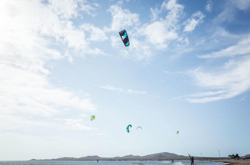 Kite surfers take advantage of strong winds at Cabo de la Vela, Colombia.