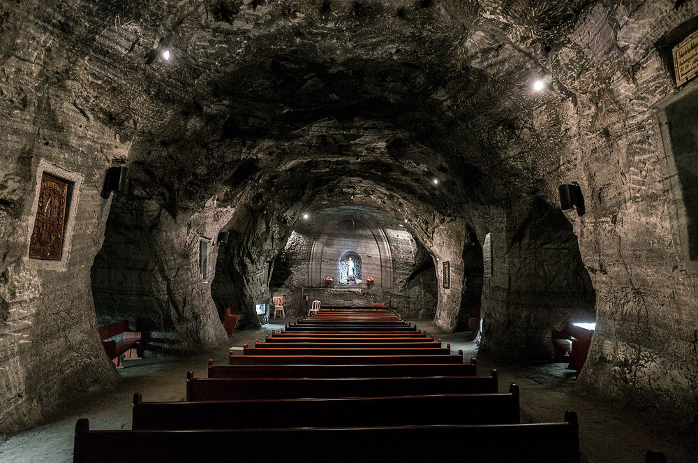 A small chapel inside the tunnels of the Salt Cathedral of Zipaquirá.  In 1954, a centuries old salt mine outside of Bogotá was converted into a Catholic cathedral, complete with 16m high ceilings and various religious iconography carved into the rock.