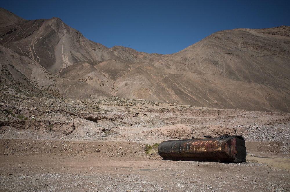 An abandoned tanker rots in the dirt in the Cañon del Pato, an arid canyon in northern Peru.