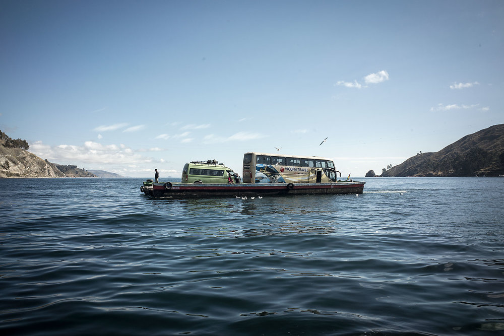 One of the many ferries that transport vehicles across a narrow section of Lake Titicaca in northern Bolivia.