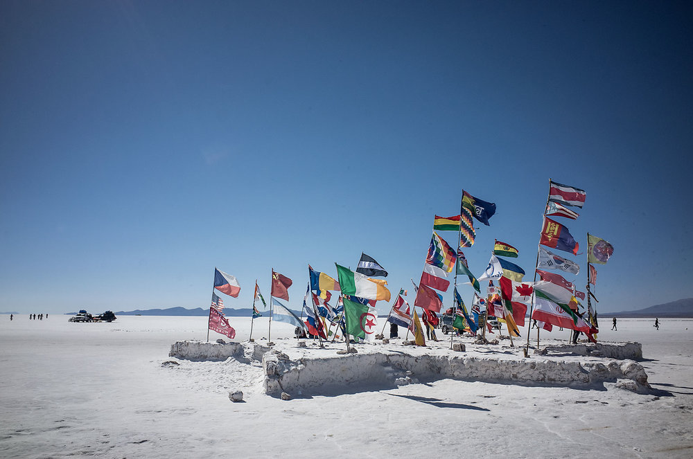 A bounty of flags blow in the wind on the salt flats of southern Bolivia.