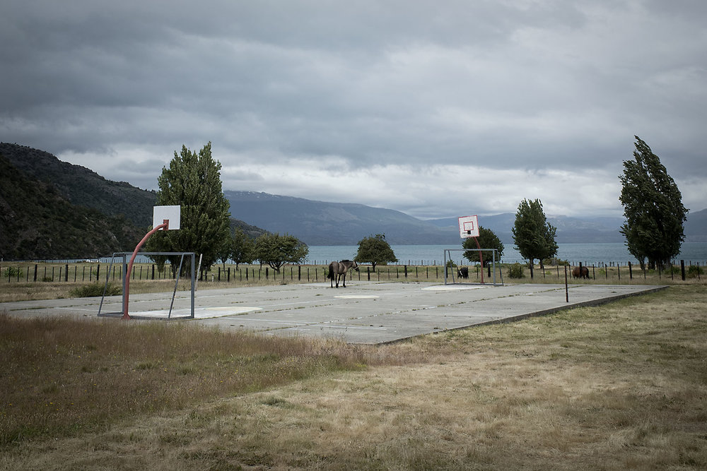 A stray horse grazes on a derelict basketball court in Puerto Sanchez, Chile.