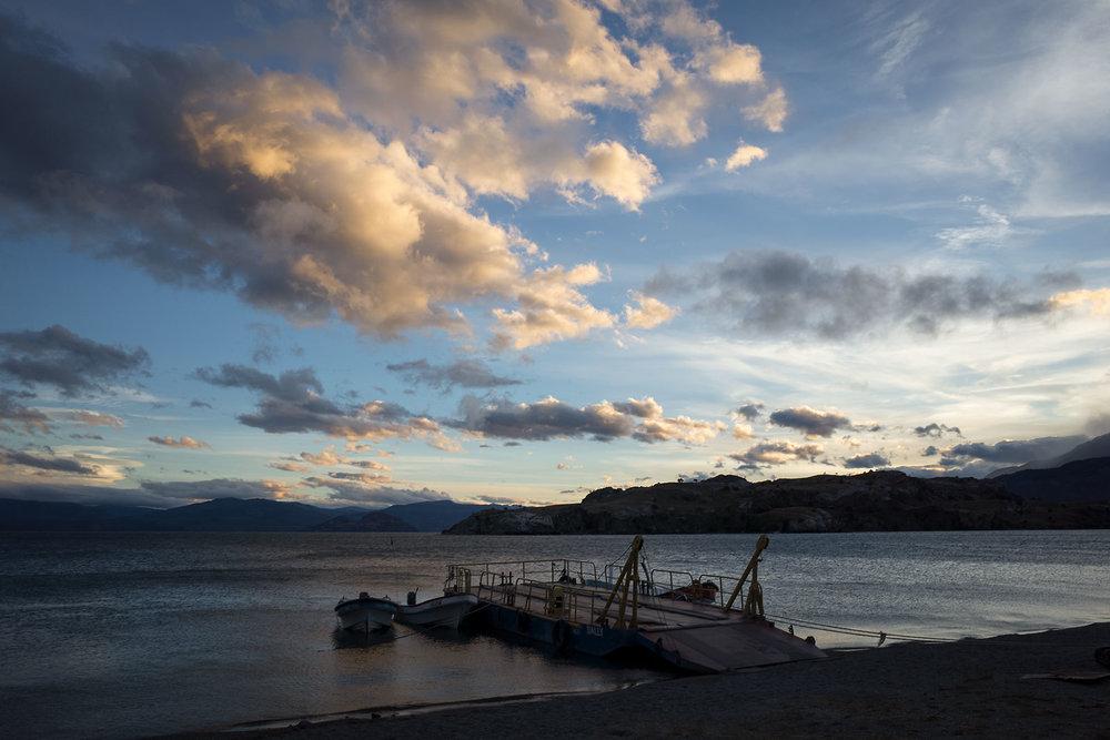 Sunset in Puerto Sanchez, Chile.
