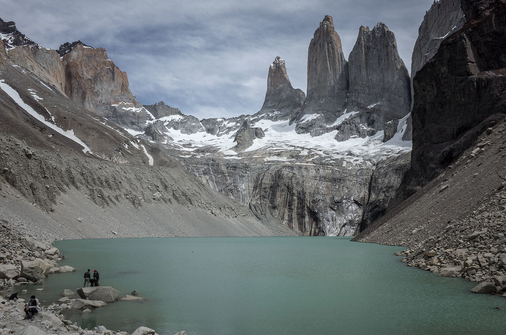 Visitors pose for photos in front of the eponymous peaks in Torres del Paine National Park.