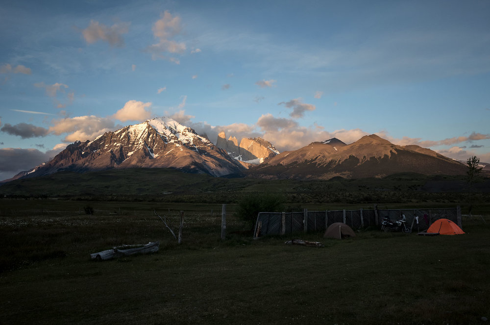 Sunrise in Torres del Paine National Park.