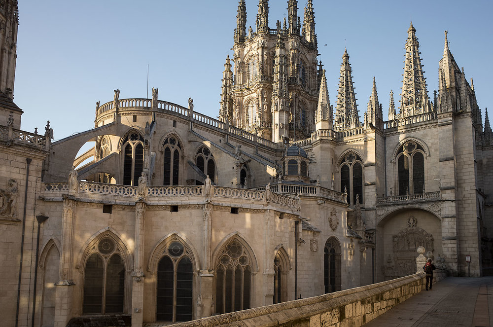 Early morning sunshine strikes the Cathedral of Saint Mary in Burgos.