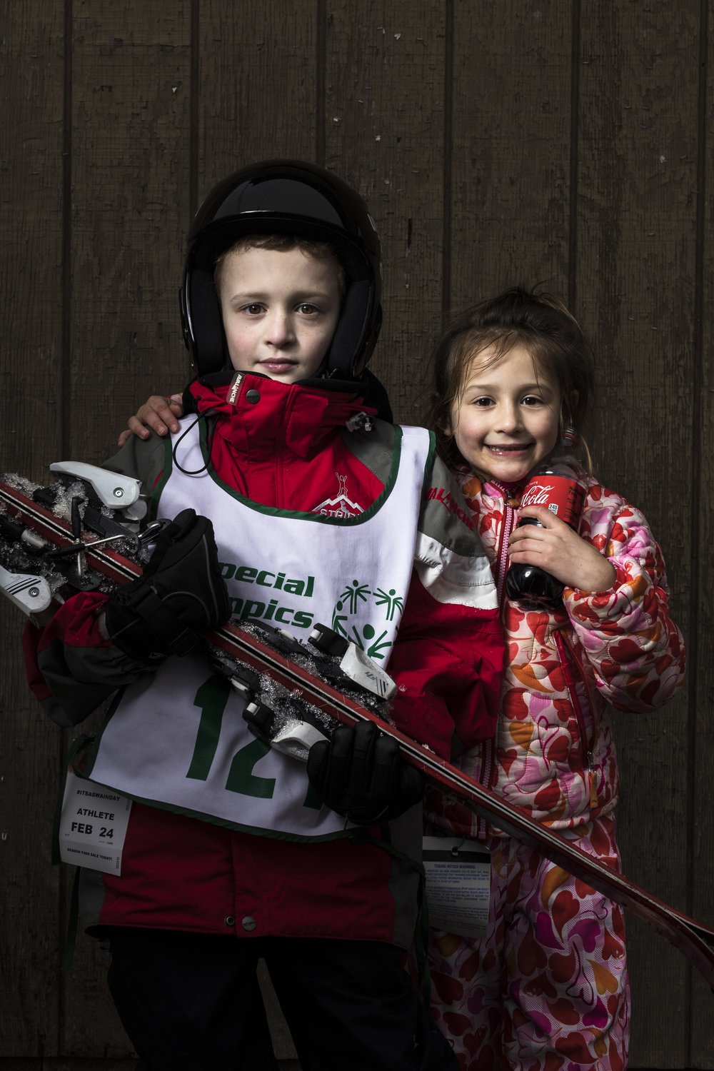 Alpine skier Matthew, and his sister Ally, from Bronxville, N.Y., at the 2018 Special Olympics New York State Winter Games at Swain Resort in Swain, N.Y. Feb. 24, 2018.  A. Crichton