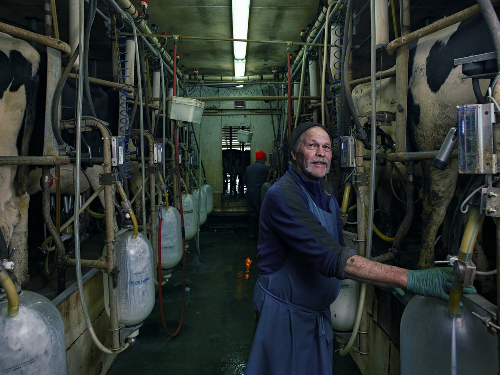 Richard Snavlin, a dairy farmer at Snavlin Farms in Tully, N.Y., stands for a portrait in the milking parlour on Dec 7, 2018.  PhaseOne XF IQ3 100MP