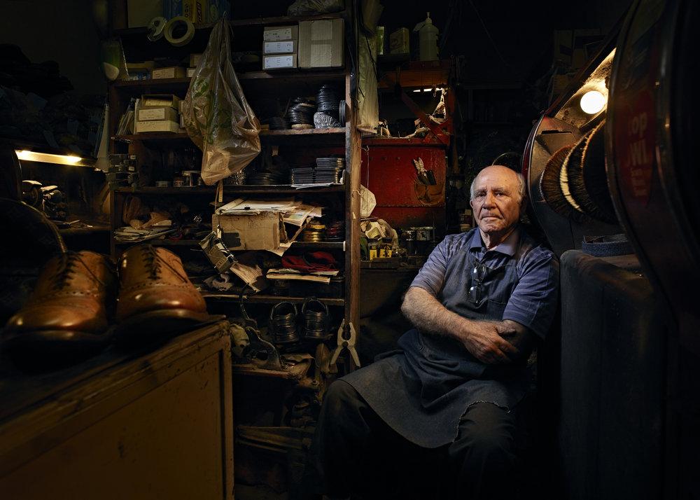 Shoe cobbler Mario Gagliardi, 79, of Al's Monroe Shoe Service in Rochester, N.Y. on Feb 28, 2019.   PhaseOne XF IQ3 100MP