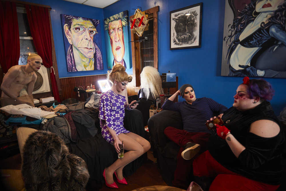 Drag queens prepare for the WTFF show at Lux Lounge.