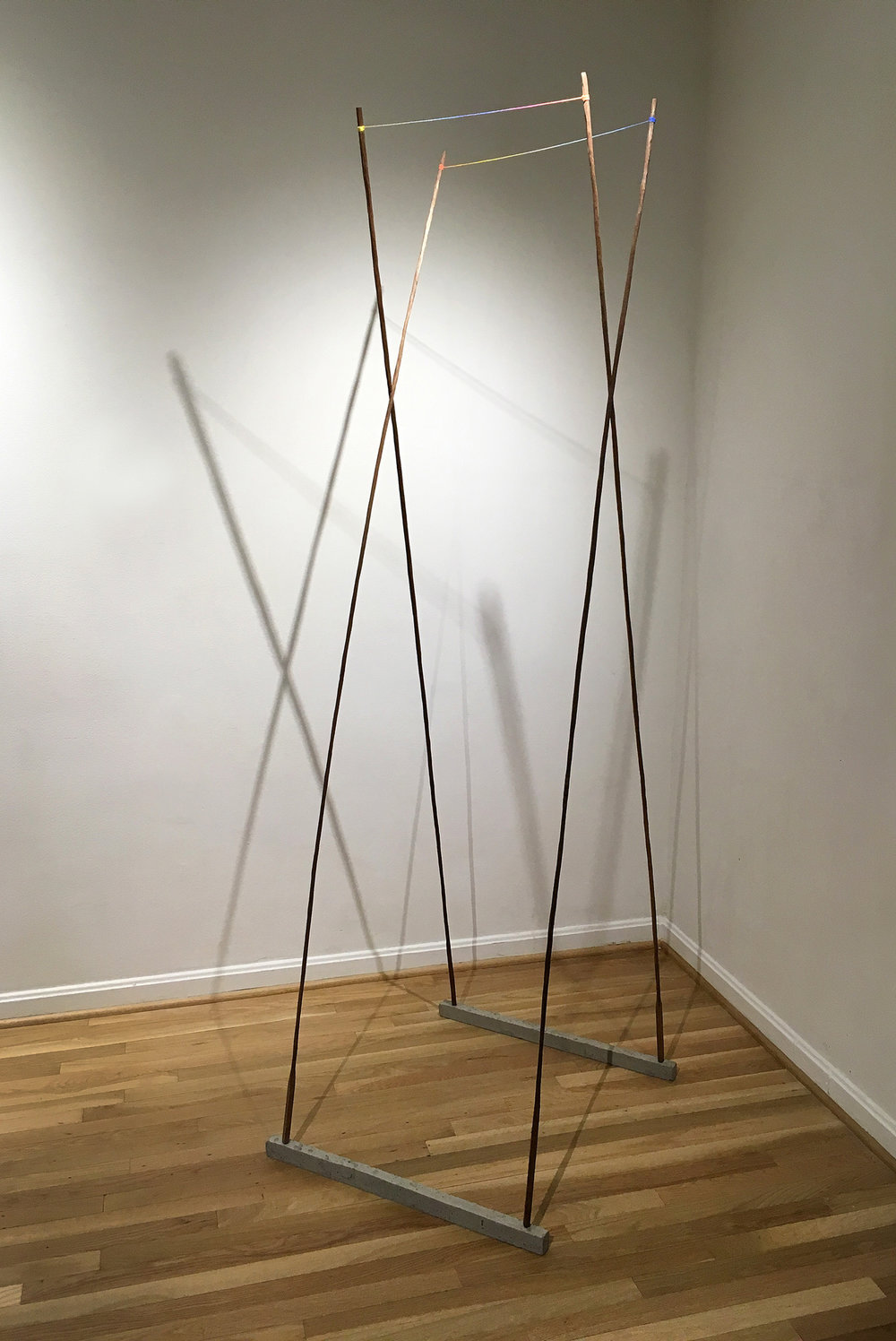 Untitled (Identity),  2017, wood, concrete, string, chalk, 26 x 28 x 85 in. Pictured at Hillyer Art Space, Washington, DC