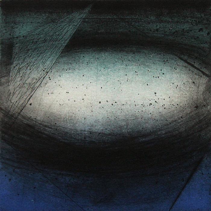 Passing,  2014, variable edition etching with monoprint and chine colle, 6 x 6 in. (image)
