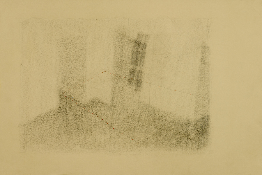 Interior III , 2014, graphite and conté drawing, 15 x 22 in.