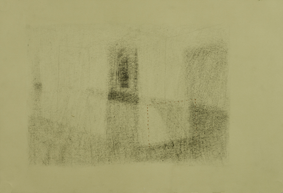 Interior I , 2014, graphite and conté drawing, 15 x 22 in.