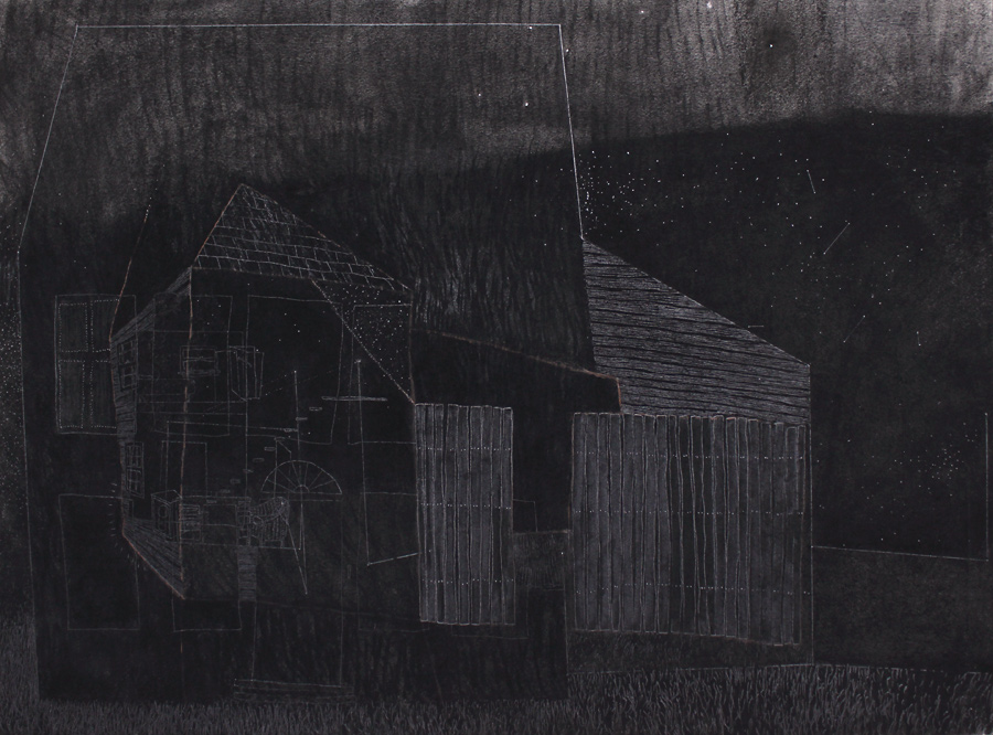 Home , 2013, charcoal and graphite drawing, 22 x 29 3/4 in.