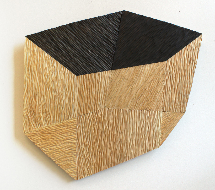 Hedron I , 2012, wood and graphite, 21 1/2 x 23 x 3/4 in.