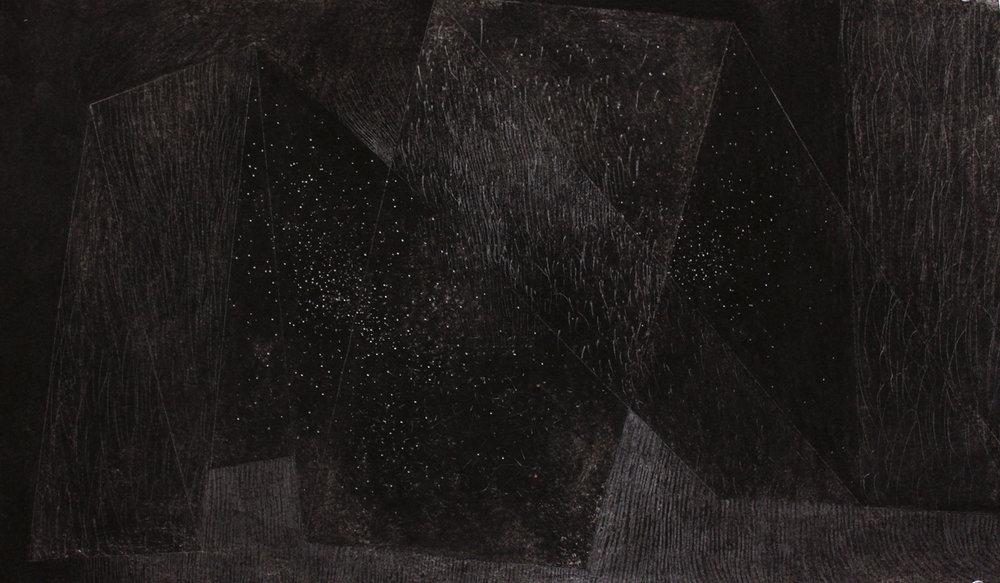Stellar Fold,  2013, charcoal and graphite drawing, 13 1/2 x 22 3/4 in.