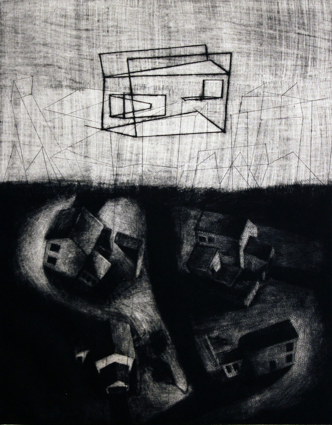 Night Shapes , 2014, mezzotint and drypoint etching, 13 1/2 x 11 in. (photo: Ray Warshaw)