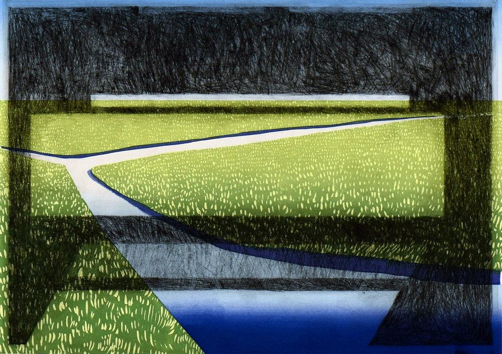 Marken (water),  2017,silkscreen and etching, 15 x 19 in.