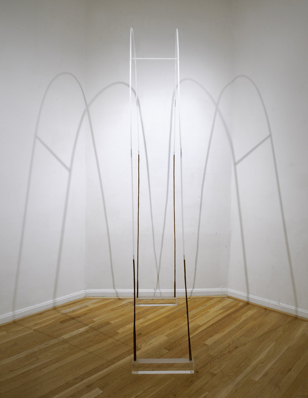 Reach , 2018, wood, plexiglass and metal pins, 96 x 16 1/2 x 42 in. (photo: Grey Staley)