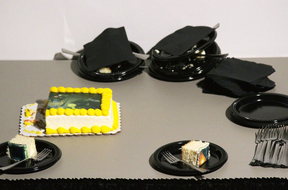banquet table, party skirt, cakes, forks, napkins, and plates  various dimensions  2016
