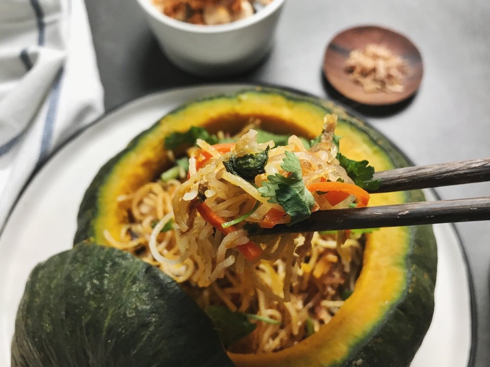 fall kabocha vermicelli bowl pulling noodle