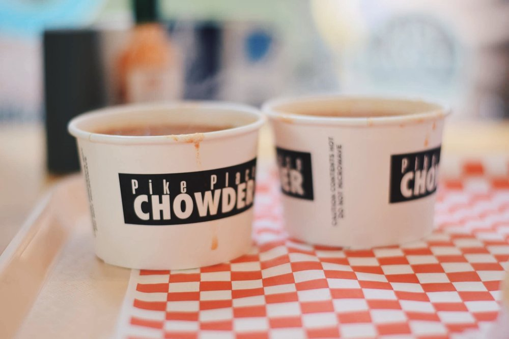 pike place chowder, must try!  there are several locations in seattle, the one i have been is in the pike market
