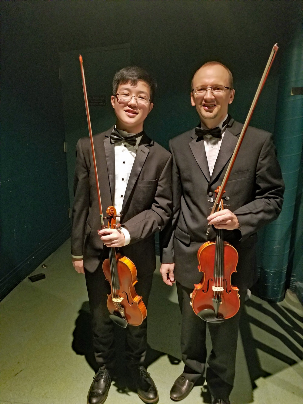 Pierce Wang and Max Baluyev backstage at Vacaville Performing Arts Theater