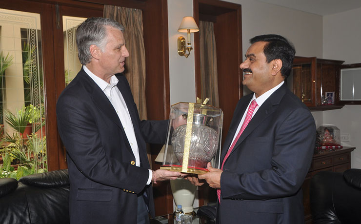 US Ambassador Timothy Roemer is greeted by Gautam Adani, Chairman, Adani Group at Adani House in Ahmedabad, Gujarat. (IMAGE: U.S. Embassy New Delhi, Flickr)