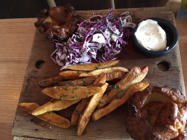 Here come the sides! Yorkshire pudding, coleslaw, chips & sour cream
