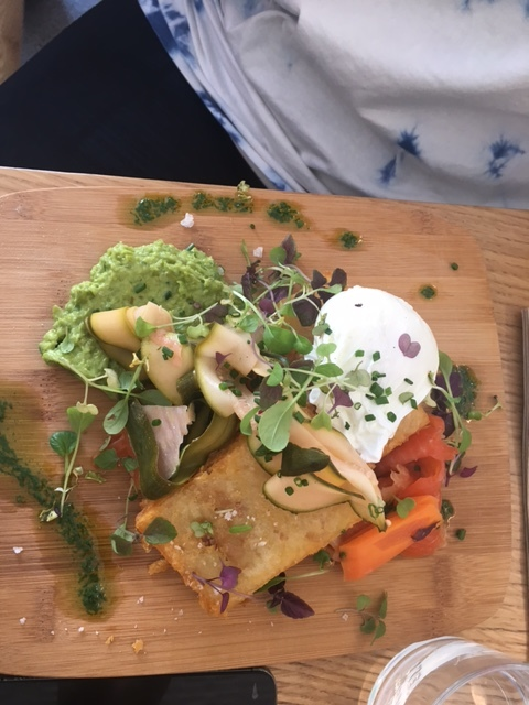 Stockholm Morning - ocean trout gravlax, pea guacamole, hash browns  poached eggs & seasonal pickled vegetables.  This is what I eat when I'm trying to be healthier but still want hash browns!