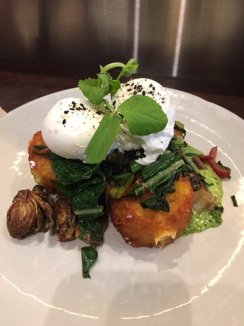 Hash browns, green goddess sauce, sauteéd rainbow chard slaw and poached eggs
