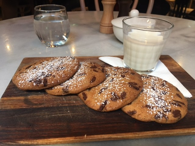 Warm Milk Chocolate Cookies & Milk - freshly baked, with a 10 minute wait. Worth it!