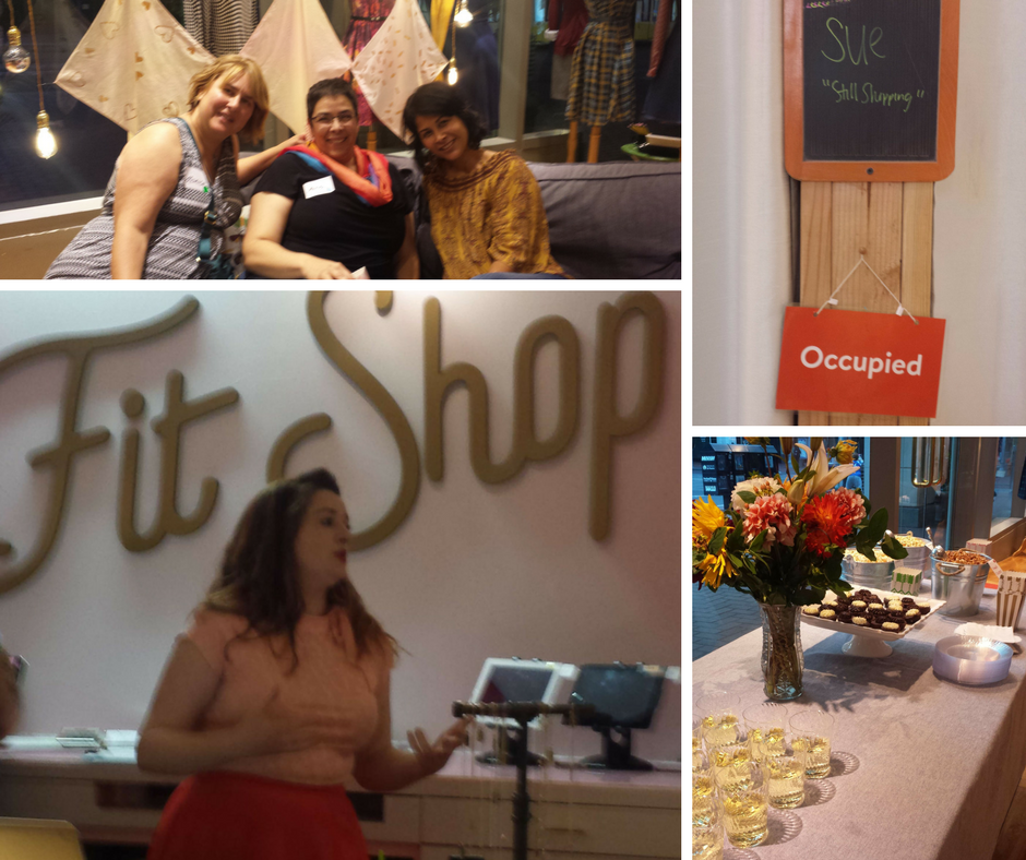 Top L The community starts. Top R: Sue's fitting room is on hold while she looks around, Bottom L: Caitlin Donovan tells us about ModCloth and their Fit Shop, Bottom R: The beautiful table by ModCloth and WeFitMe.