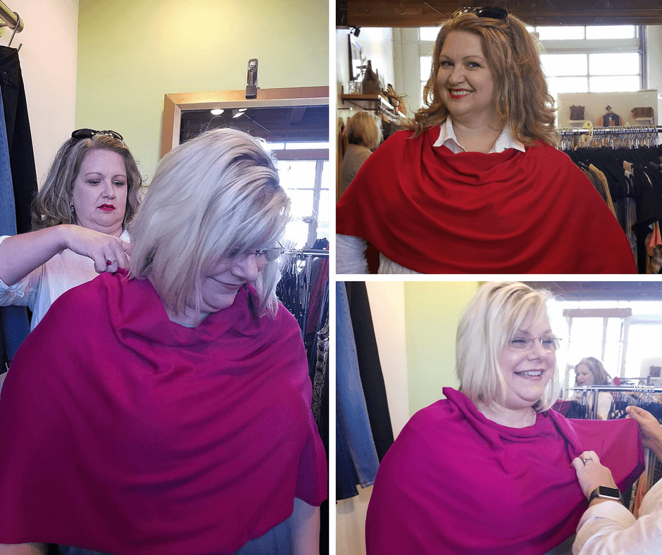 Brandy styled Julie and herself in this yummy, light-but-warm  poncho you can wear eight different ways. Colors on these photo don't do them justice!