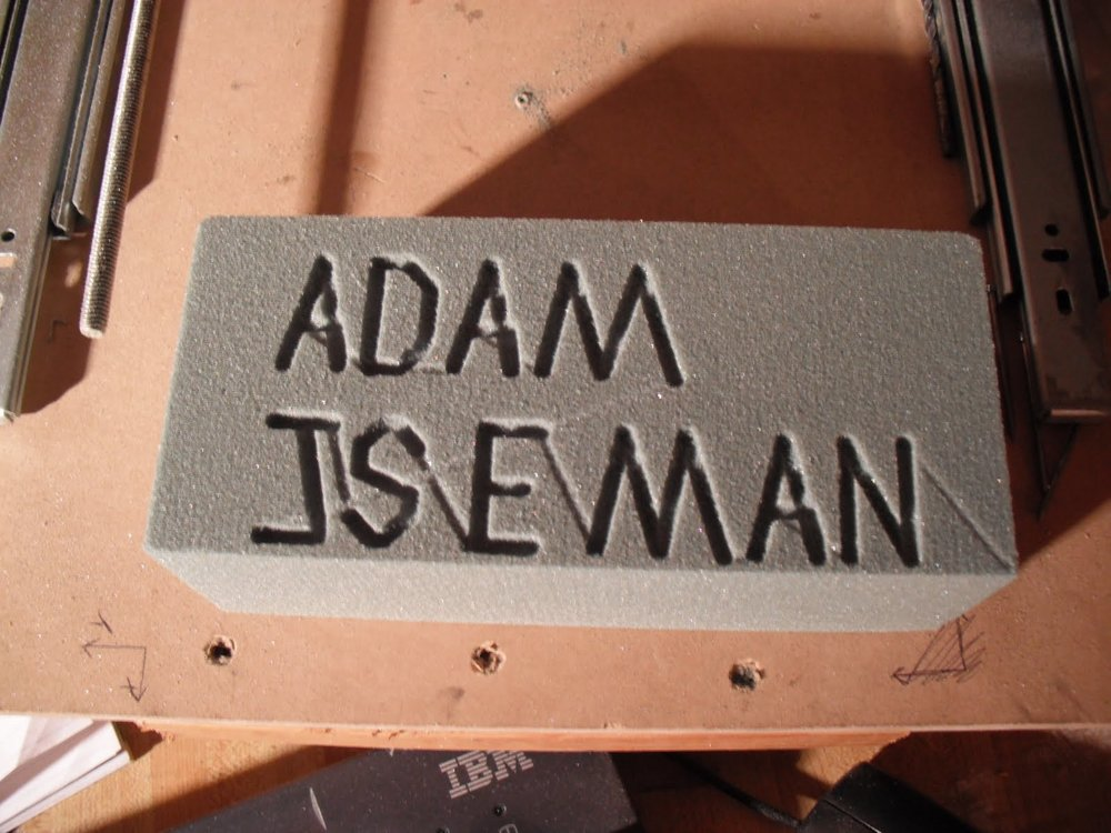 My first hand G-coded attempt at carving my name in foam.