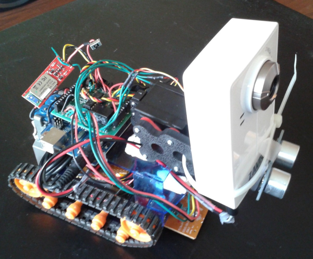 A grunt modified to control pan and tilt servos while under smartphone control.