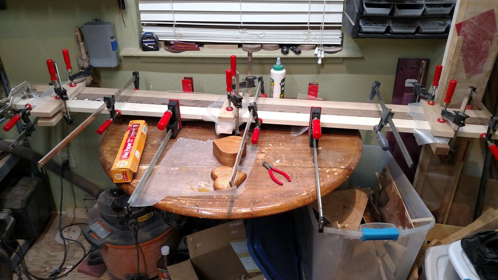 Gluing up the blanks for a cutting board.