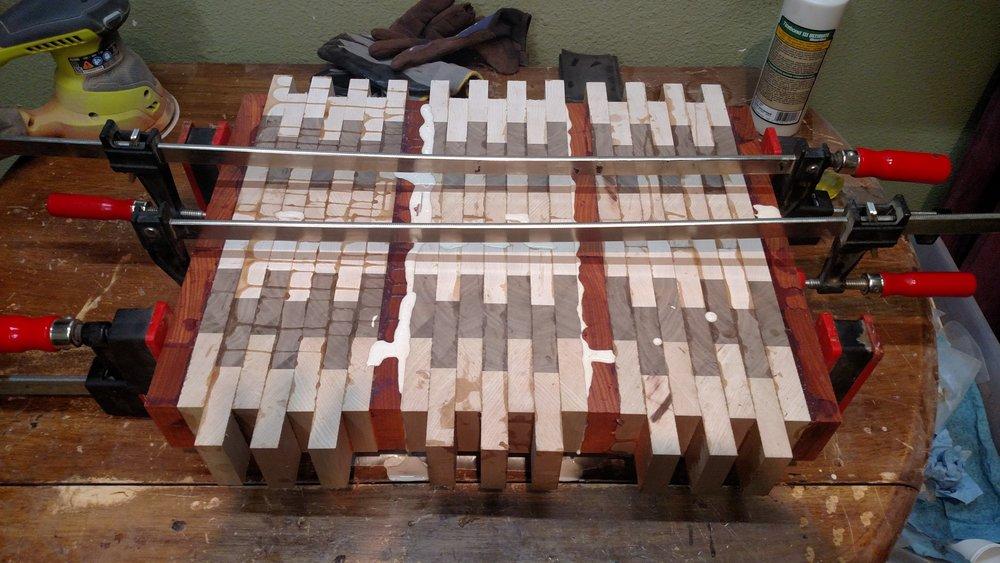 The cutting board glue up.