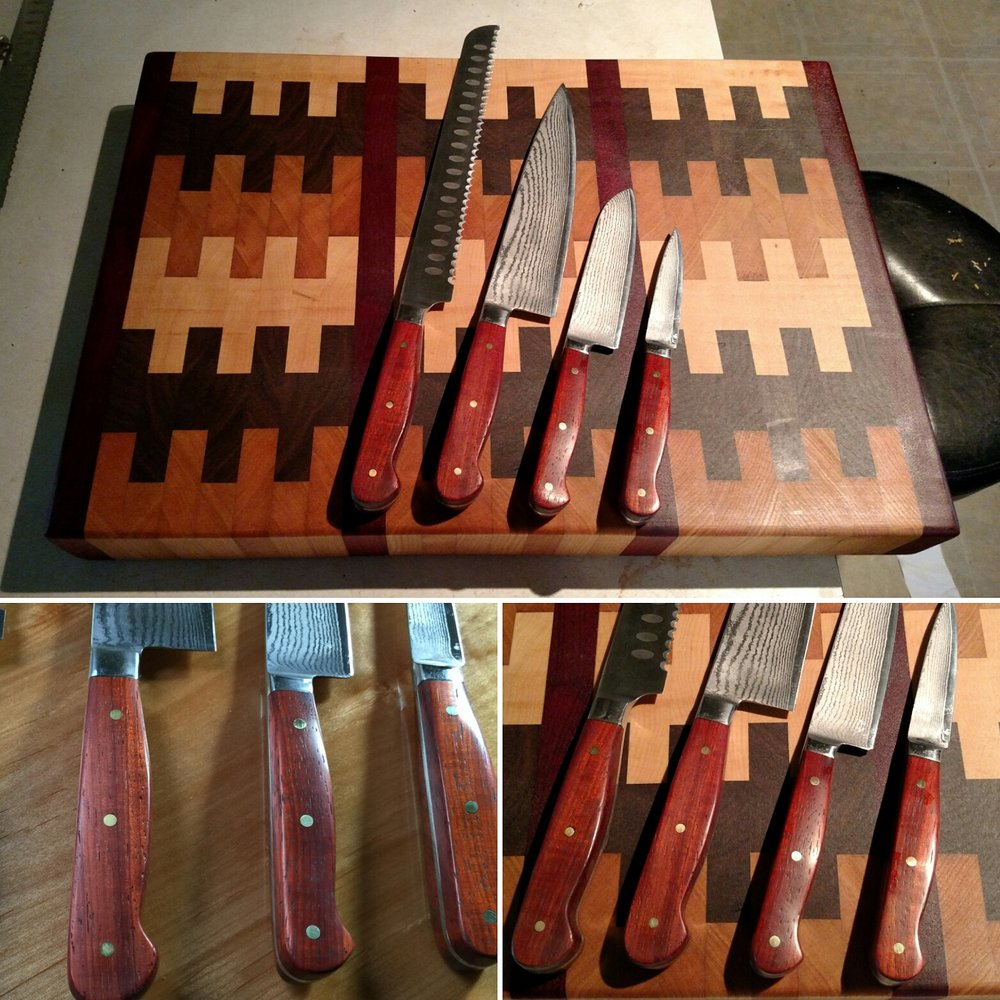 A cutting board and knife set I made for my college roommate's wedding present. Louis was quite happy with the padauk handled knives and hasn't passed out a single time from using them.