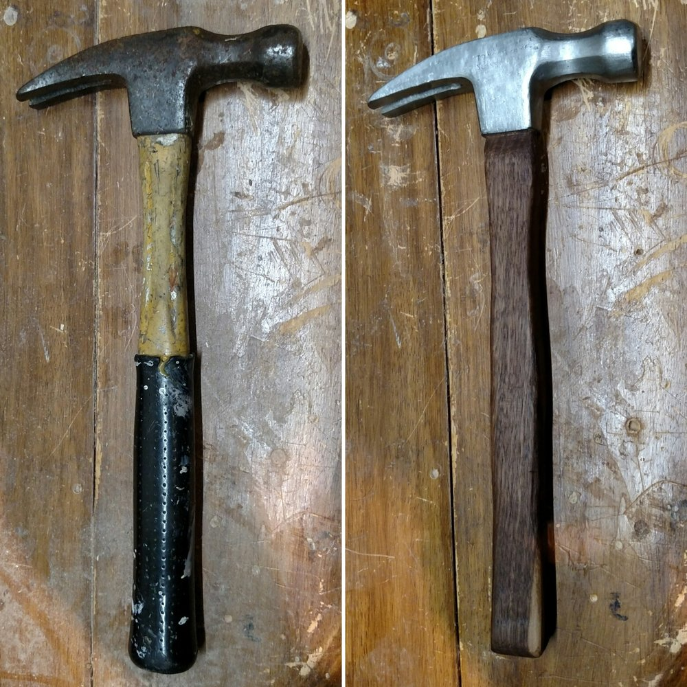 I fixed up my dads old hammer and gave it back to him as Christmas present. Details on this project can be found  here .