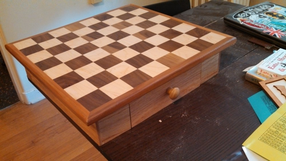 This chess board was a wedding present for my friend Sam who I played a lot of bug house with in college.